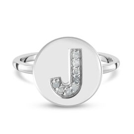 White Diamond Initial-J Ring in Platinum Overlay Sterling Silver