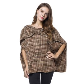 Italian Designer Off The Shoulder Chocolate, Yellow and Black Colour Checks Pattern Winter Poncho wi