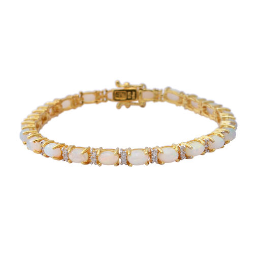 7.50 Ct AA Ethiopian Welo Opal and Zircon Tennis Bracelet in Two Tone Plated Sterling Silver 7 Inch