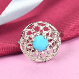 Arizona Sleeping Beauty Turquoise and Natural Cambodian Zircon Ring in Platinum Overlay Sterling Silver 1.80 Ct.