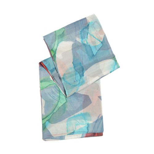 100% Mulberry Silk Blue, White and Multi Colour Handscreen Printed Scarf (Size 180X100 Cm)