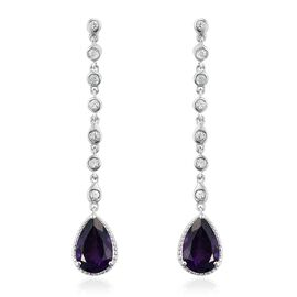 6 Carat Amethyst and Natural Cambodian Zircon Dangling Earrings in Platinum Plated Silver 5.53 gms (with Push Back)