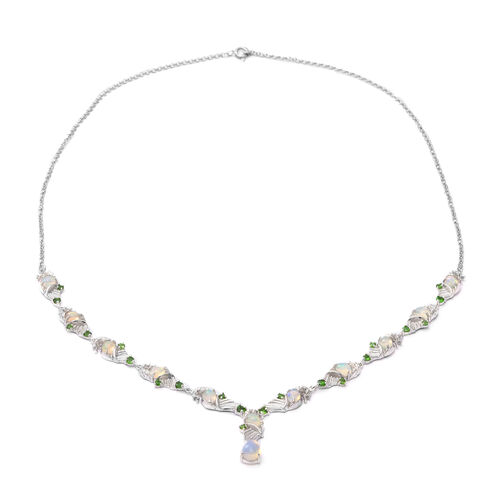 Ethiopian Welo Opal, Russian Diopside Necklace (Size 20) in Rhodium Overlay Sterling Silver 4.44 Ct,