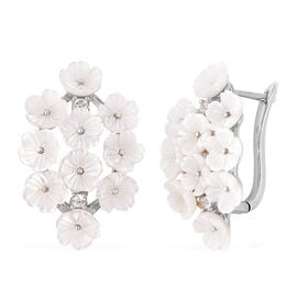 Jardin Collection - White Mother of Pearl and Natural White Cambodian Zircon Floral Cluster Earrings