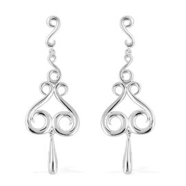 LucyQ Rhodium Overlay Sterling Silver Chandelier Earrings (with Push Back), Silver wt 8.21 Gms