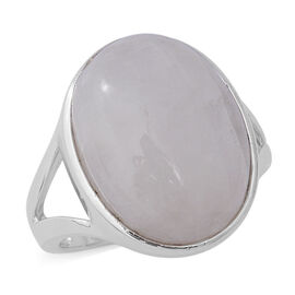 Rainbow Moonstone (Ovl 20x15 mm) Solitaire Ring in Rhodium Overlay Sterling Silver 18.67 Ct.