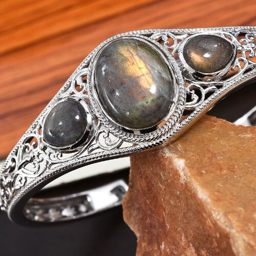 100% Natural Bokonaky Fire Labradorite (Ovl and Pear) Cuff Bangle (Size 7.5) in Platinum Overlay Sterling Silver 26.50 Ct, Silver wt 24.00 Gms