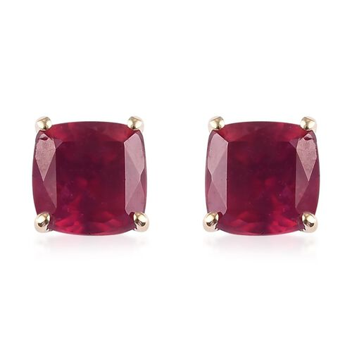 9K Yellow Gold AAA African Ruby (Cush) Stud Earrings (with Push Back) 2.750 Ct.