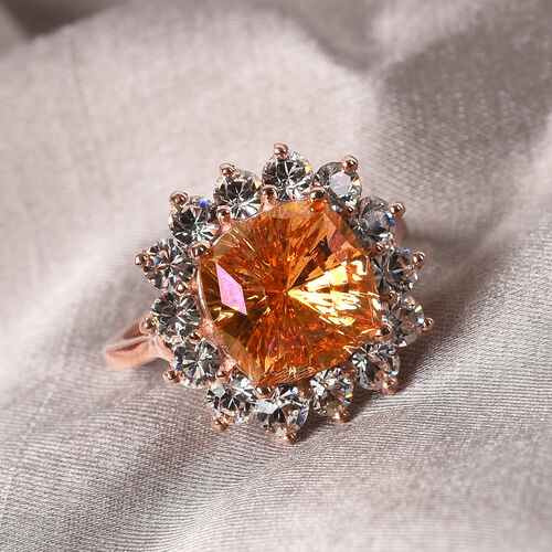 J Francis Crystal from Swarovski Astral Pink Crystal and White Crystal Ring in Rose Gold Overlay Sterling Silver