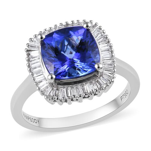 RHAPSODY 3 Ct AAAA Tanzanite and Diamond Halo Ring in 950 Platinum 5.51 Grams VS EF