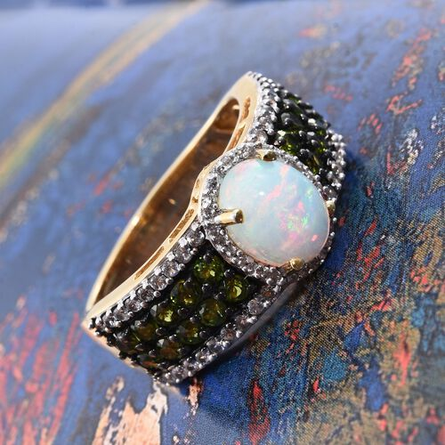Ethiopian Welo Opal (Ovl 1.20 Ct), Russian Diopside and Natural Cambodian Zircon Ring in 14K Gold Overlay Sterling Silver 3.000 Ct. Silver wt. 5.54 Gms.