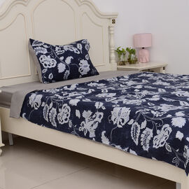 3 Pcs Microfiber Printed Fabric with Blue Duvet Cover (Size 200x140 Cm), Grey Fitted Sheet (Size 220