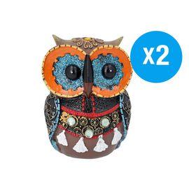 Set of 2 - Decorative Lovely Colourful Owl (Size 8x6x11.5cm) - Orange and Multi