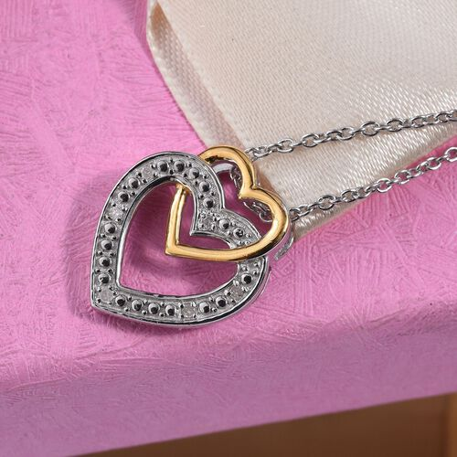 Diamond (Rnd) Heart Pendant with Chain (Size 18) in Platinum and Yellow Gold Overlay Sterling Silver