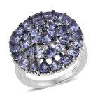 Tanzanite (Trl and Rnd) Cluster Ring (Size O) and Platinum Overlay Sterling Silver 3.540 Ct, Silver wt 5.40 G