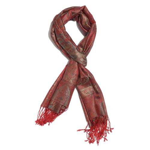 SILK MARK - 100% Superfine Silk Red, Green and Multi Colour Jacquard Jamawar Shawl with Fringes (Siz