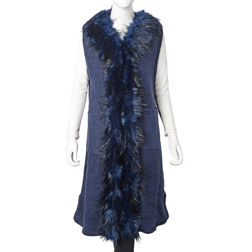 Faux Fur Collar Long Vest Cardigan with 2 Pockets (Size 106x53 Cm) Navy Blue Colour