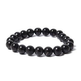 Shungite (Rnd) Stretchable Bead Bracelet (Size 7.5) 128.00 Ct.