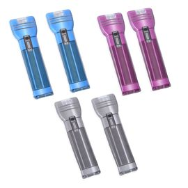 Set of 6 - Portable Waterproof LED Flat Torch Blue, Purple and Dark Grey