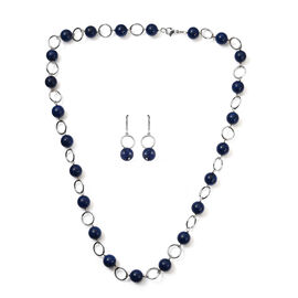 2 Piece Set - Lapis Lazuli Necklace and Hook Earrings in Stainless Steel 29.00 Ct.