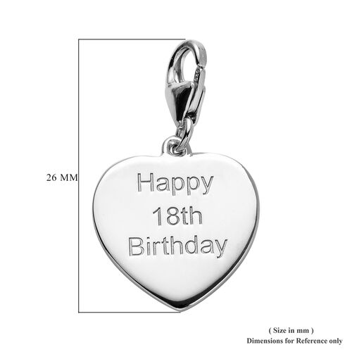 Platinum Overlay Sterling Silver Happy 18th Birthday Charm