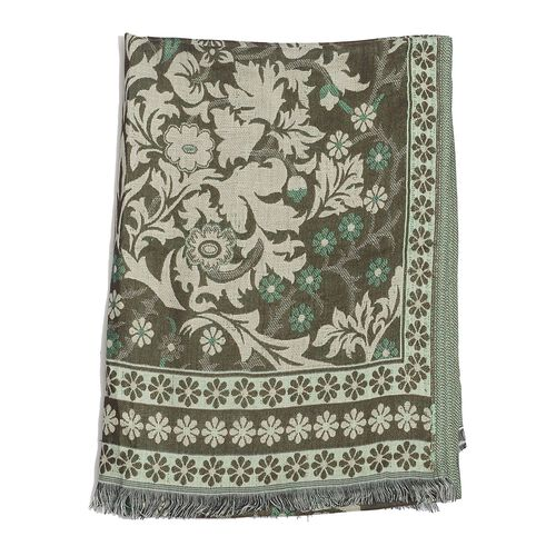 Chocolate, Cream and Green Colour Floral Pattern Scarf (Size 175x65 Cm)