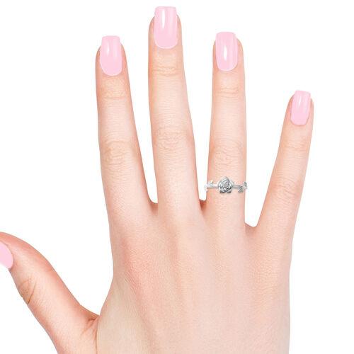 Designer Inspired- Rhodium Overlay Sterling Silver Rose Flower Ring