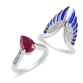 Set of 2 - GP - African Ruby, Natural Cambodian Zircon and Blue Sapphire Enamelled Rings in Platinum