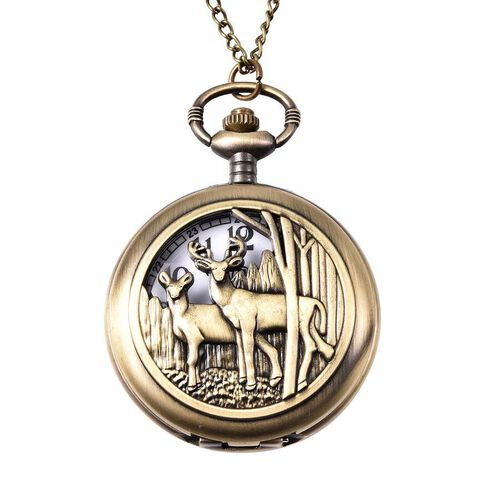 STRADA Japanese Movement Deer Couple Pattern Pocket Watch with Chain (Size 31) in Antique Bronze Pla