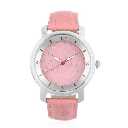 EON 1962 Swiss Movement Pink Jade Dial 3ATM Water Resistent Watch with Genuine Leather Strap 25.000 Ct.
