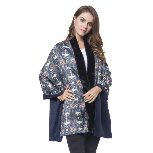 Black, Grey and Multi Colour Paisley Pattern Reversible Shawl with Faux Fur at Back (Size 180X80 Cm)