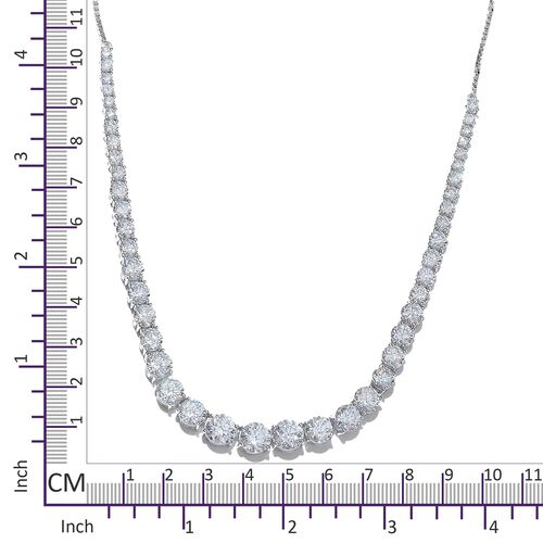 J Francis - Platinum Overlay Sterling Silver (Rnd) Adjustable Necklace (Size 20) Made with SWAROVSKI ZIRCONIA, Silver wt 21.29 Gms.