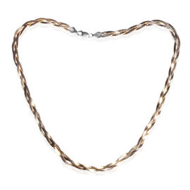 JCK Vegas Collection 14K Gold Overlay Sterling Silver Twisted Herringbone Necklace (Size 18), Silver wt 10.50 Gms.