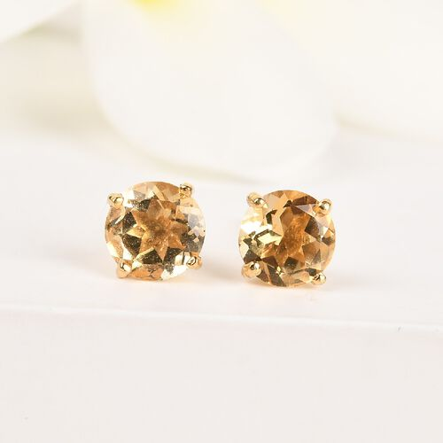 Citrine 2 Stone Push Post Earring in 14K Gold Overlay Sterling Silver 0.75 ct  0.750  Ct.