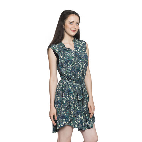 Green and Multi Colour Paisley Pattern Top with Adjustable Waist Band (Free Size)