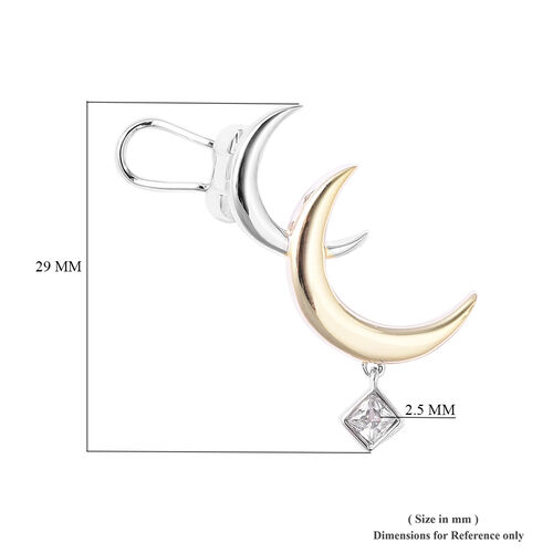 Isabella Liu Twilight Collection - Natural Cambodian Zircon Crescent Moon Earrings (with Push Back and Omega Clip) in Gold and Platinum Overlay Sterling Silver