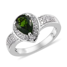 1.50 Ct Russian Diopside and Zircon Halo Ring in Platinum Plated Sterling Silver