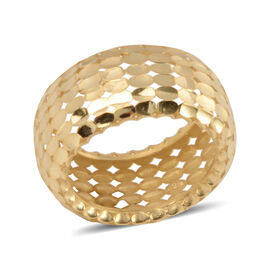 Made in Italy - 9K Yellow Gold Diamond Cut Wide Band Ring