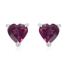 Purple Garnet Heart Stud Earrings (with Push Back) in Sterling Silver 1.00 Ct.