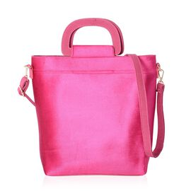 Luxe Velvet Hot Fuchsia Top Handle Bag with Removable Shoulder Strap Size 31x31x26 Cm
