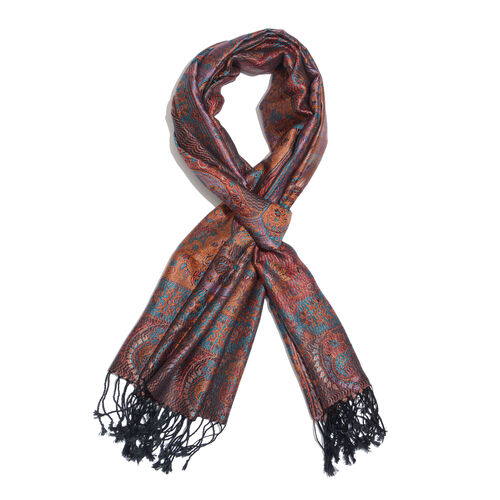 SILK MARK- 100% Superfine Silk Red, Orange and Multi Colour Jacquard Jamawar Scarf with Fringes (Siz