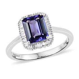 RHAPSODY 950 Platinum AAAA Tanzanite (Oct 2.25 Ct), Diamond (VS/E-F) Ring 2.500 Ct.