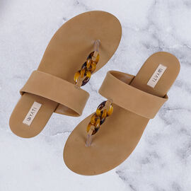 Inyati - LEANDRA Thong Style Sandal in Toasted Nut Colour
