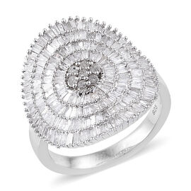 Designer Inspired- Diamond (Bgt) Ring in Platinum Overlay Sterling Silver 1.500 Ct, Number of Diamonds 191