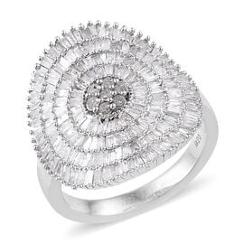 1.50 Carat Diamond Cluster Ring in Sterling Silver