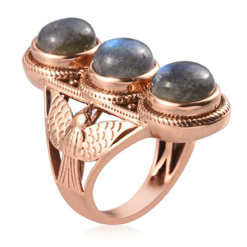 Labradorite Three Stone Ring in Bronze 7.25 Ct.