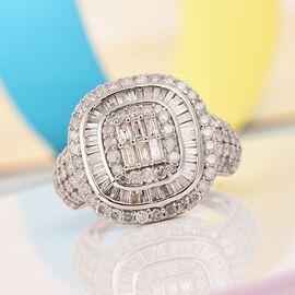 9K White Gold SGL Certified Diamond (I3-GH) Diamond Cluster Ring 2.00 Ct, Gold wt. 5.36 gms