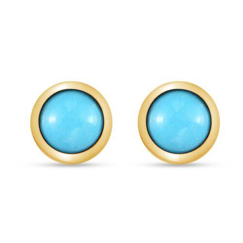 Arizona Sleeping Beauty Turquoise Stud Earrings (with Push Back) in 14K Gold Overlay Sterling Silver