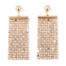 White Austrian Crystal (Rnd) Dangle Earrings (with Push Back) in Gold Tone