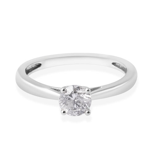 9K White Gold SGL Certified Diamond (I3/G-H) Solitaire Ring 0.50 Ct.